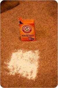 soda om vlekken uit tapijt te verwijderen